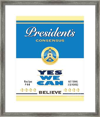 President Obama Yes We Can Soup Framed Print by NowPower -