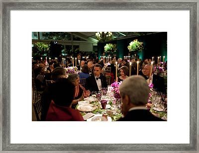 President Obamas Table At The State Framed Print