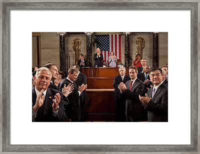 President Obamas View As He Entered Framed Print by Everett