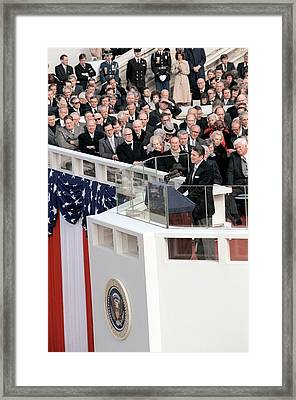 President Reagan Delivers His Inaugural Framed Print