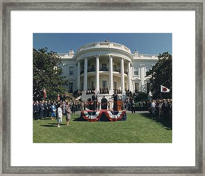 President Reagan Making Remarks Framed Print