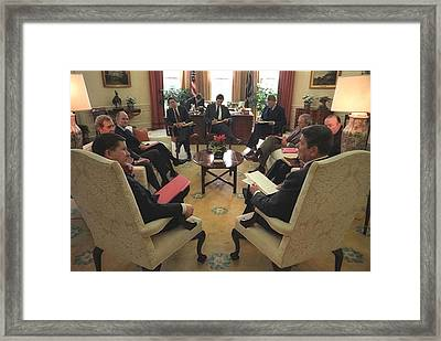 President Reagan Meeting With The Tower Framed Print