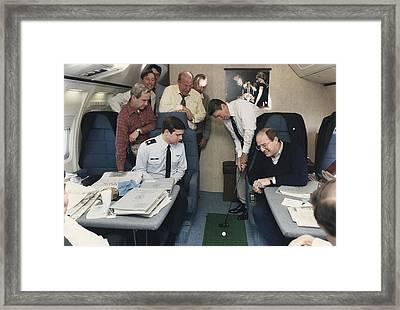 President Reagan Putting A Golf Ball Framed Print by Everett