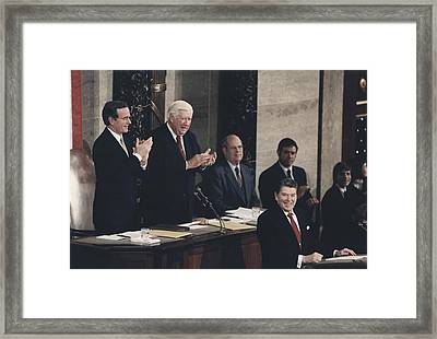 President Reagan Receives A Standing Framed Print by Everett