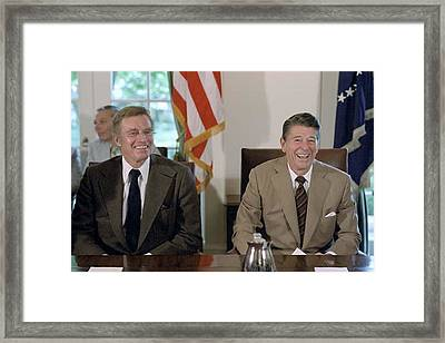 President Reagan With Actor Charlton Framed Print by Everett