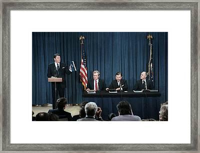 President Reagans Remarks On Receiving Framed Print by Everett