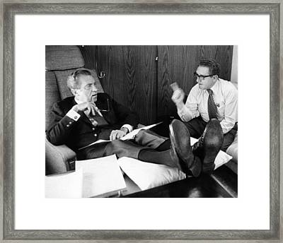 President Richard Nixon And Henry Framed Print by Everett