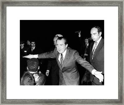 President Richard Nixon Extends Himself Framed Print by Everett