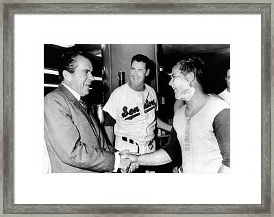 President Richard Nixon Greets Framed Print by Everett