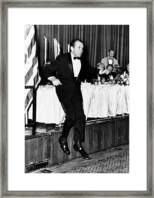 President Richard Nixon Leaps Framed Print by Everett