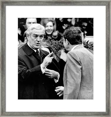 President Richard Nixon Listens To An Framed Print by Everett