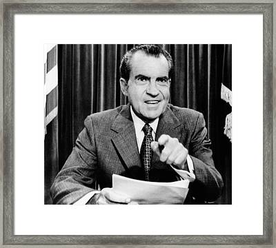 President Richard Nixon Presents A New Framed Print by Everett