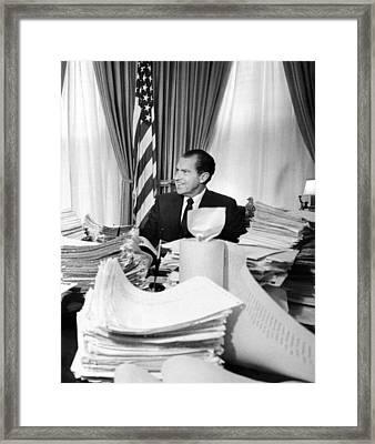 President Richard Nixon Sitting Among Framed Print by Everett