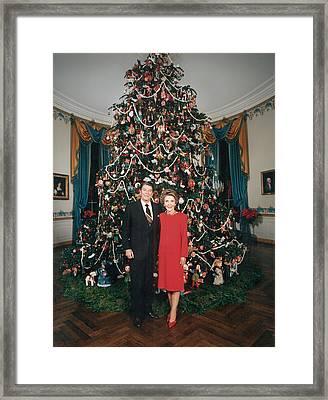 President Ronald Reagan, First Lady Framed Print by Everett