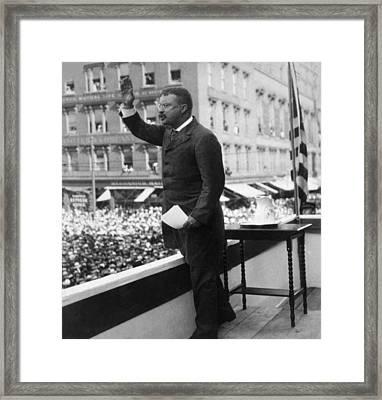 President Theodore Roosevelt Delivering Framed Print