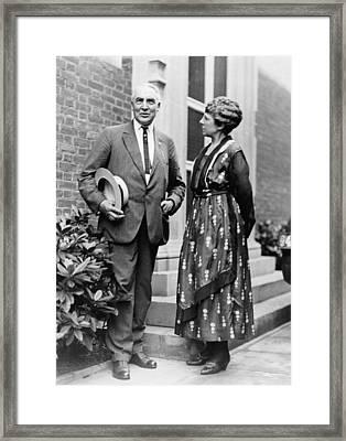 President Warren Harding With First Framed Print by Everett