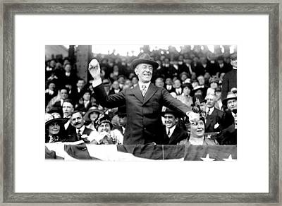 President Woodrow Wilson Throws Throws The First Pitch On Opening Day - C 1916 Framed Print by International  Images