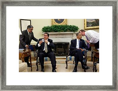 Press Secretary Robert Gibbs Whispers Framed Print
