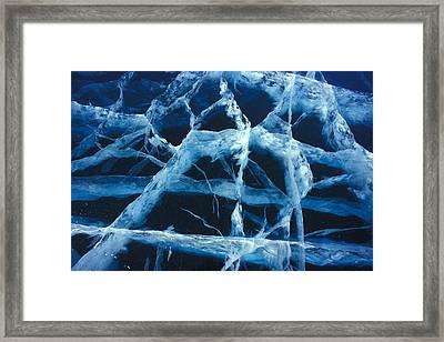 Pressure Cracks In Lake Ice Framed Print by Nick Norman