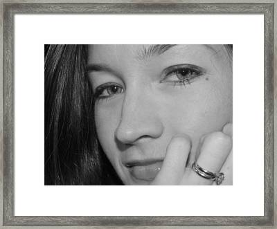 Pretty Face With Ring Near Cheek Framed Print by Robert Ulmer