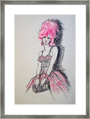 Framed Print featuring the drawing Pretty In Pink Hair by Sue Halstenberg