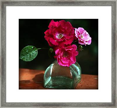 Pretty Red And Pink Flowers Framed Print