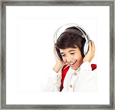 Pretty Teen Boy Enjoying Music Framed Print by Anna Om