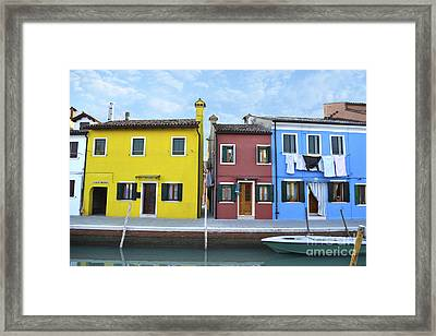 Framed Print featuring the photograph Primary Colors In Burano Italy by Rebecca Margraf