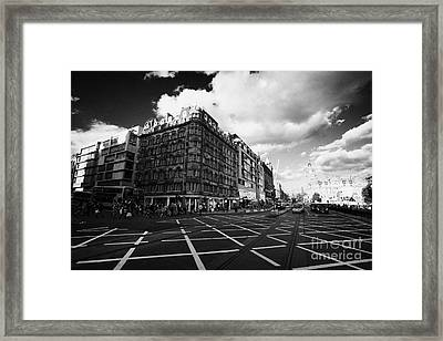 Princes Street And St David Street South With Tram Lines And Old Waverly Hotel Edinburgh Scotland Uk Framed Print by Joe Fox