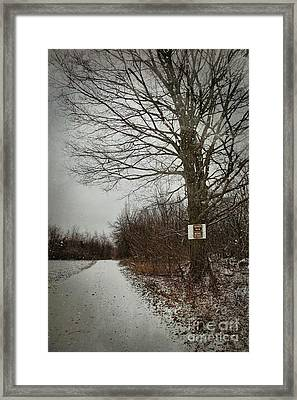 Private Property Sign On Tree In Winter Framed Print by Sandra Cunningham