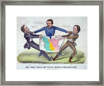 Pro-mcclellan Cartoon Shows Lincolns Framed Print by Everett