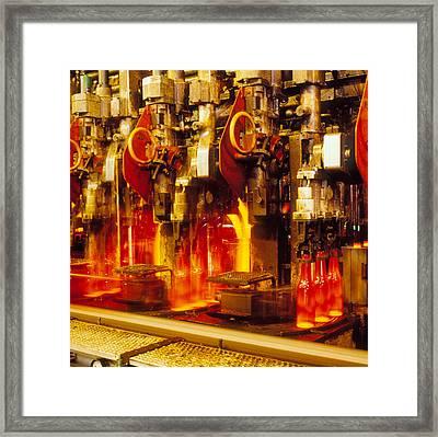 Production Line In Manufacture Of Glass Bottles Framed Print by Victor De Schwanberg