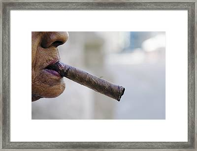 Profile Of Cuban Woman Smoking Cigar In Vieja District Framed Print by Christian Aslund