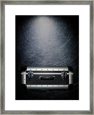 Protective Luggage Case On Stainless Steel. Framed Print by Ballyscanlon