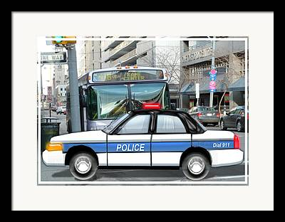 Squad Car Paintings Framed Prints