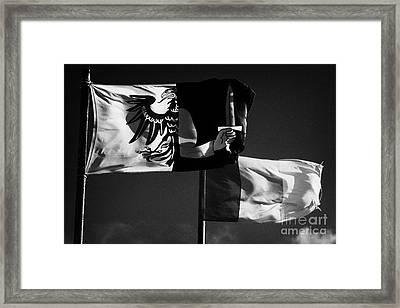 Provincial Connacht And Irish Tricolour Flags Flying In Republic Of Ireland Framed Print by Joe Fox
