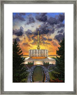Provo Temple Evening Framed Print by Jeff Brimley