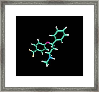 Prozac Antidepressant Drug Molecule Framed Print by Dr Tim Evans