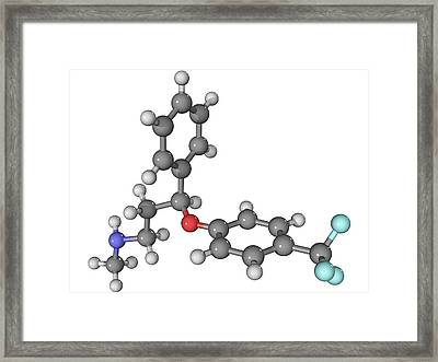 Prozac Antidepressant Molecule Framed Print by Laguna Design