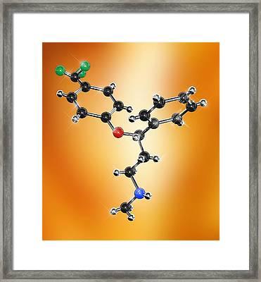 Prozac Antidepressant Molecule Framed Print by Miriam Maslo