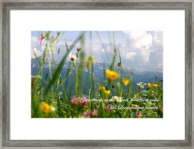Psalm 107 1 Framed Print by Emanuel Tanjala