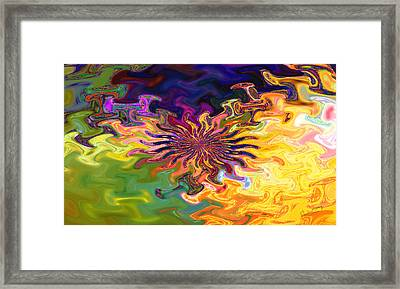 Psychedelic Flower - A Fractal Abstract Framed Print by Gina Lee Manley