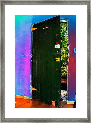 Psycho Door Framed Print by Dolly Sanchez