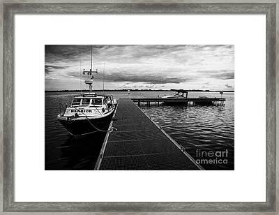Public Jetty And Island Warrior Ferry On Rams Island In Lough Neagh Northern Ireland  Framed Print by Joe Fox