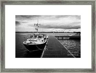 Public Jetty And Island Warrior Ferry On Rams Island In Lough Neagh Northern Ireland Uk Framed Print by Joe Fox