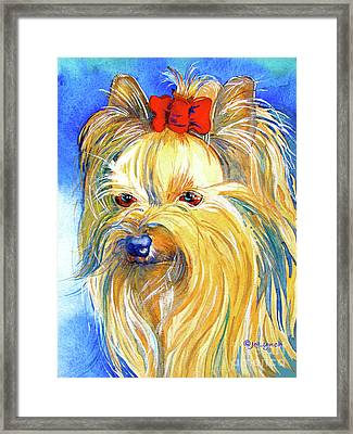 Puddin' Yorkie Yorkshire Terrier Dog Framed Print by Jo Lynch