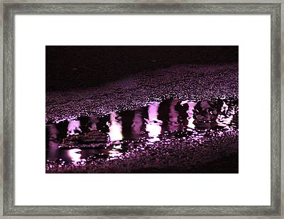 Framed Print featuring the photograph Puddle In Purple Reflection by Carolina Liechtenstein