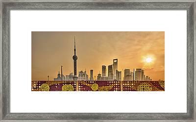 Pudong Skyline At Sunrise, Shanghai, China Framed Print by William Yu Photography
