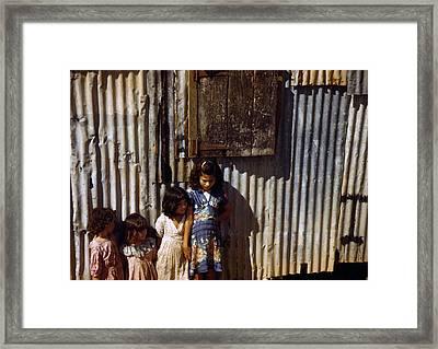 Puerto Rico. Children Of Tenant Farmers Framed Print by Everett