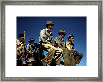 Puerto Rico. Sugar Cane Workers Resting Framed Print by Everett